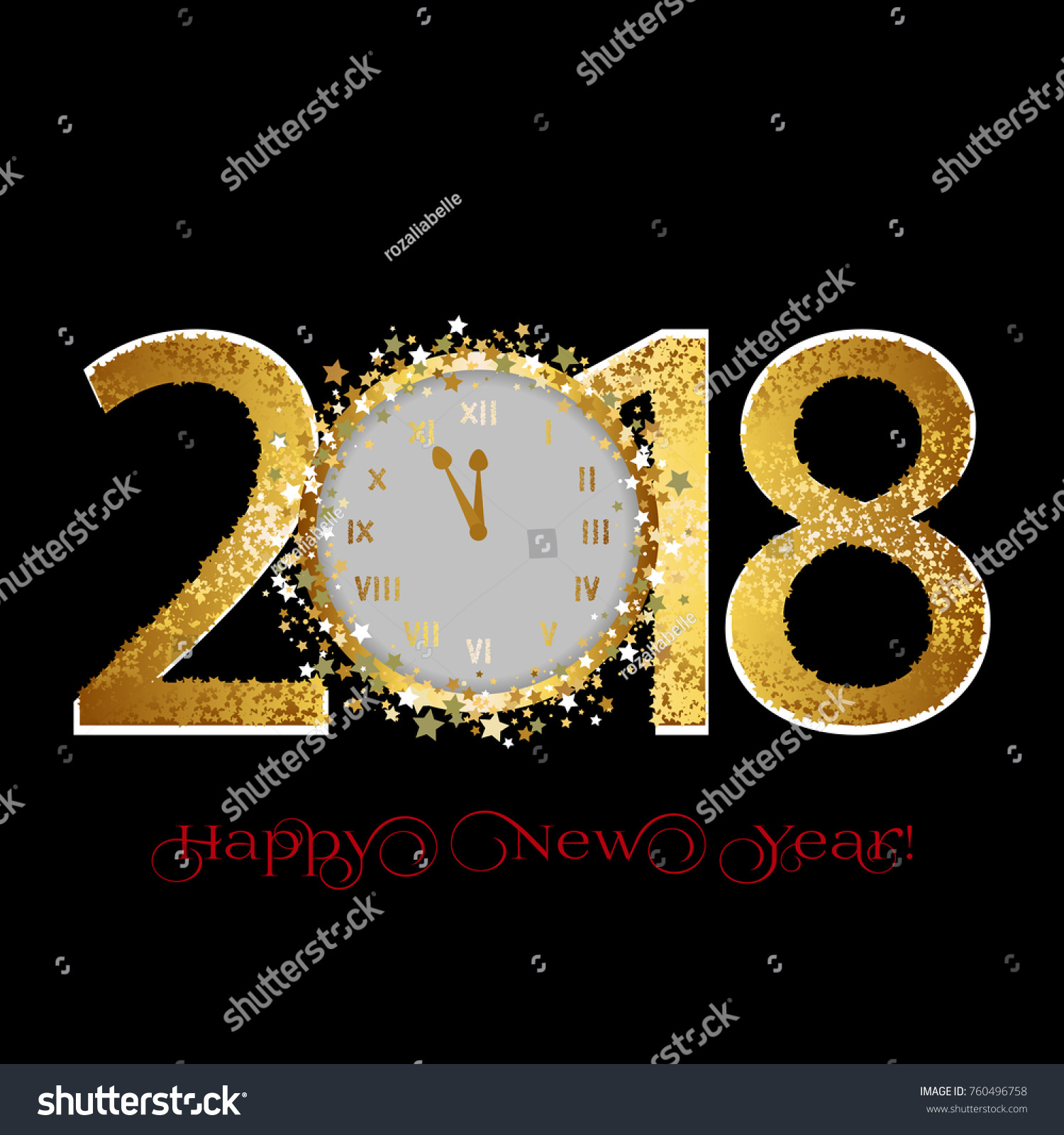 happy new year 2018 golden stars and clocks on a black background