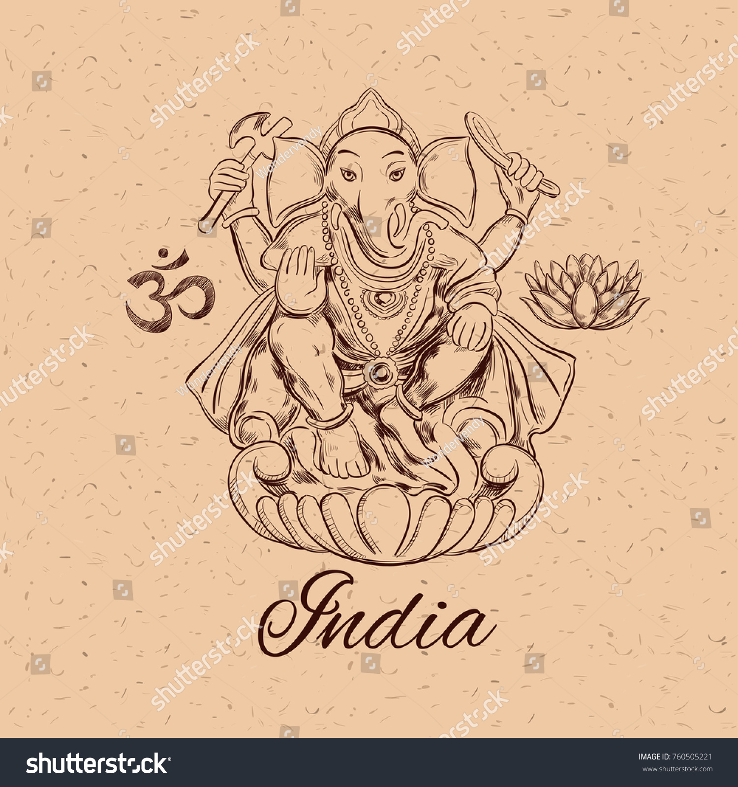 Lord Ganesha Hinduism Symbol Prosperity Overcoming Stock Vector