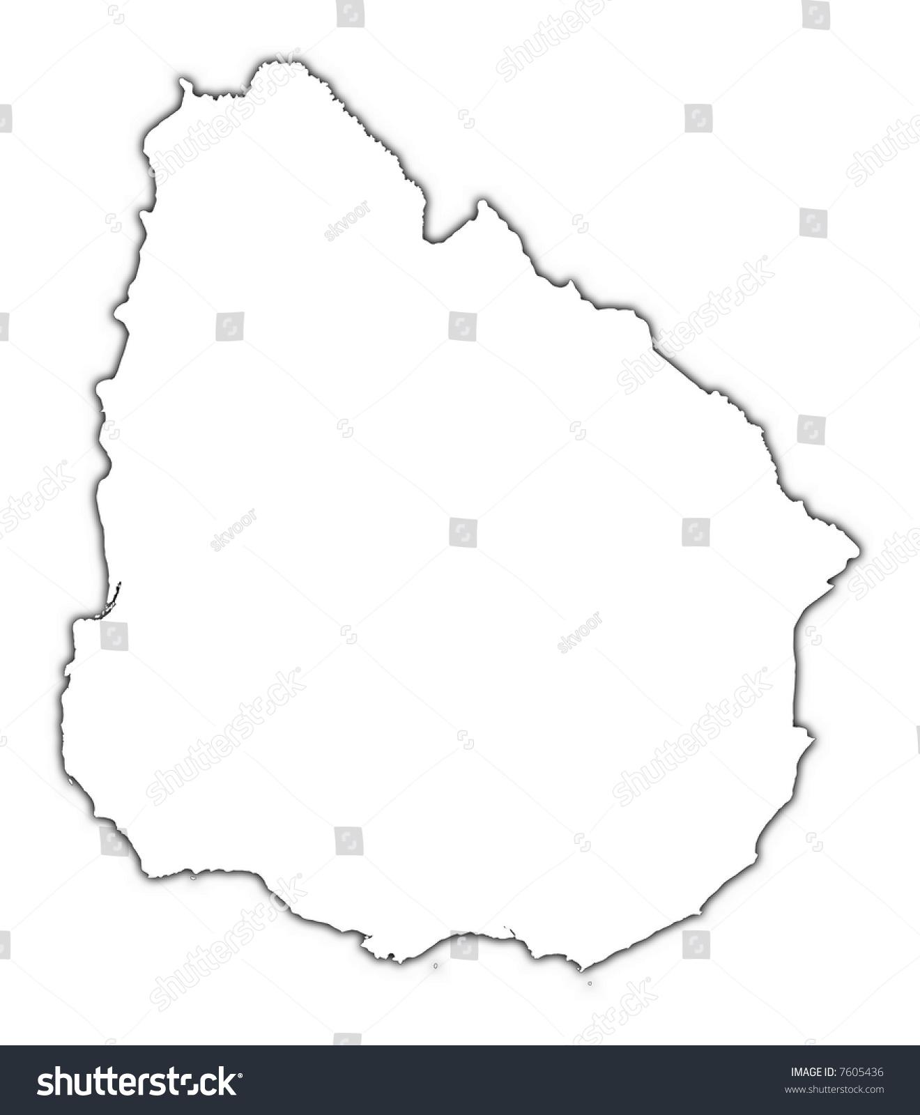 Uruguay Outline Map Shadow Detailed Mercator Stock Illustration - Uruguay blank map