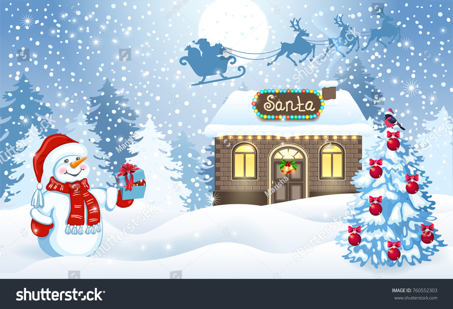 Christmas Card Funny Snowman Holding Gift Stock Vector (Royalty Free ...