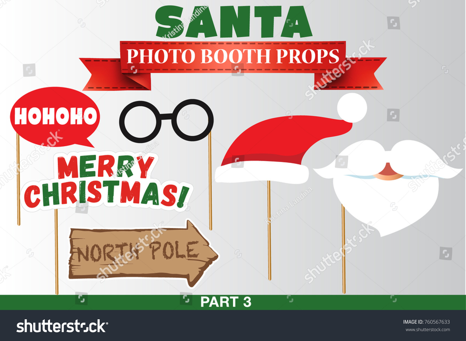 santa merry christmas and new year photo booth props fun party printable speech bubble