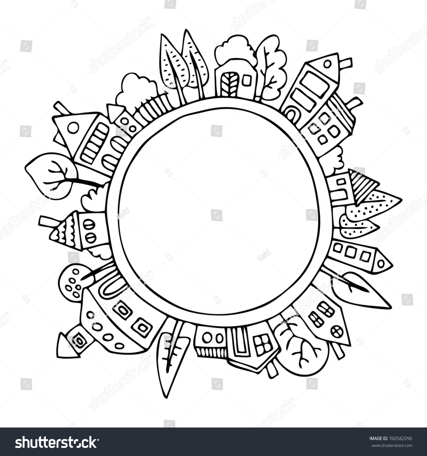 houses around planet earth hand drawn stock vector 760582096