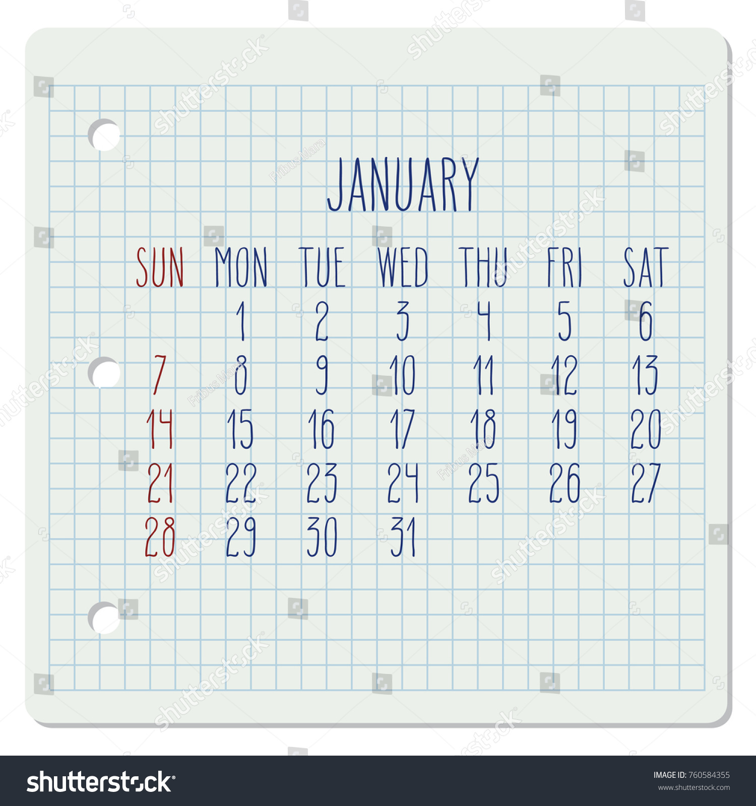 Calendar Typography Examples : January year vector monthly calendar stock vector royalty
