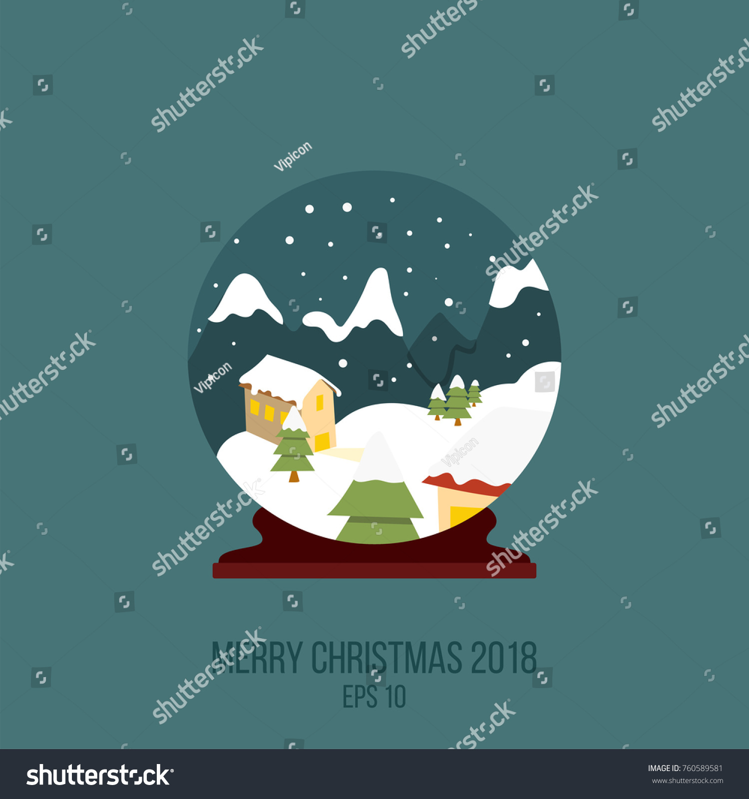 Merry Christmas Symbol New Year House Stock Vector Royalty Free