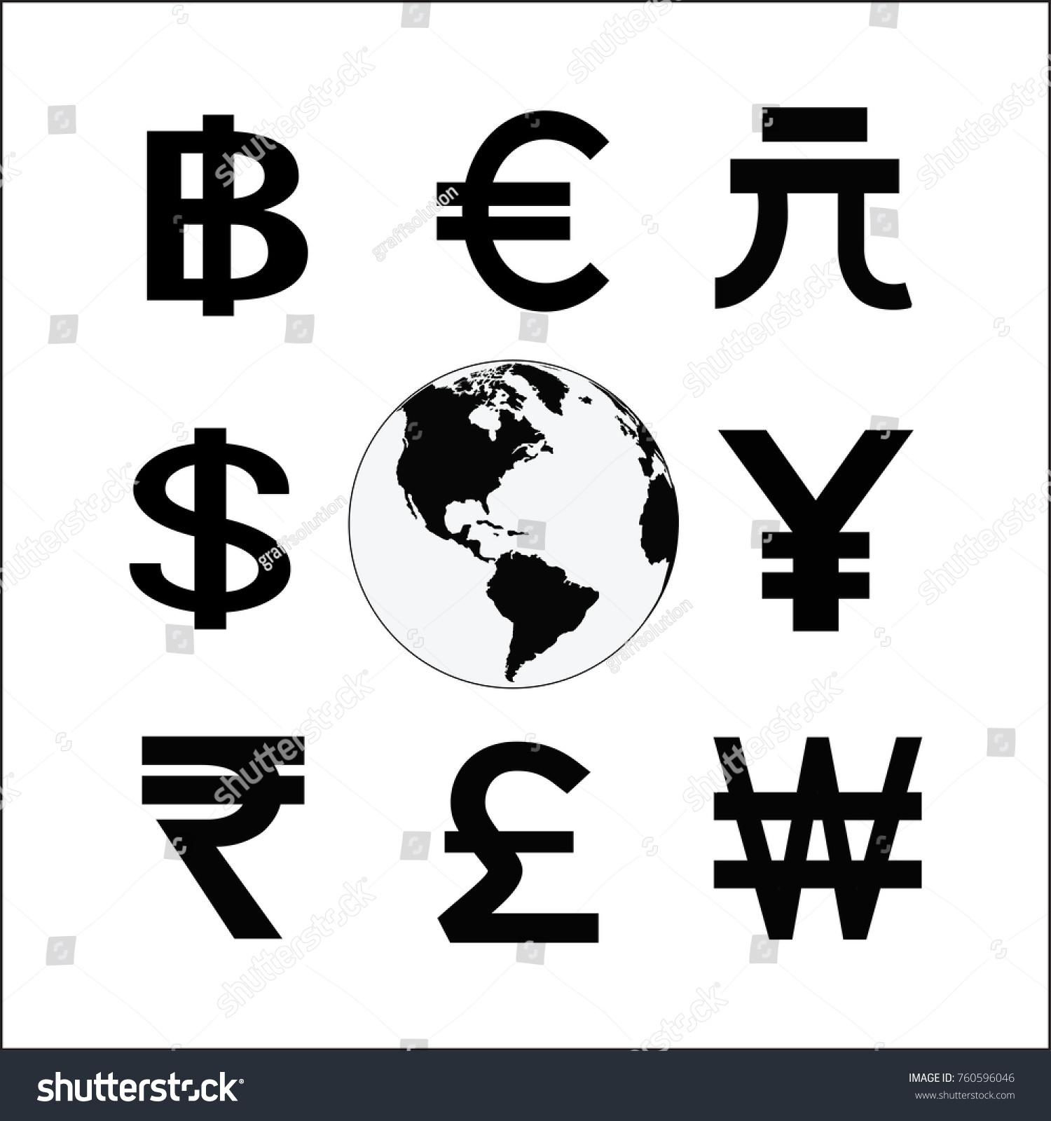 Globe Money Cycle Symbol Various Currencies Stock Illustration
