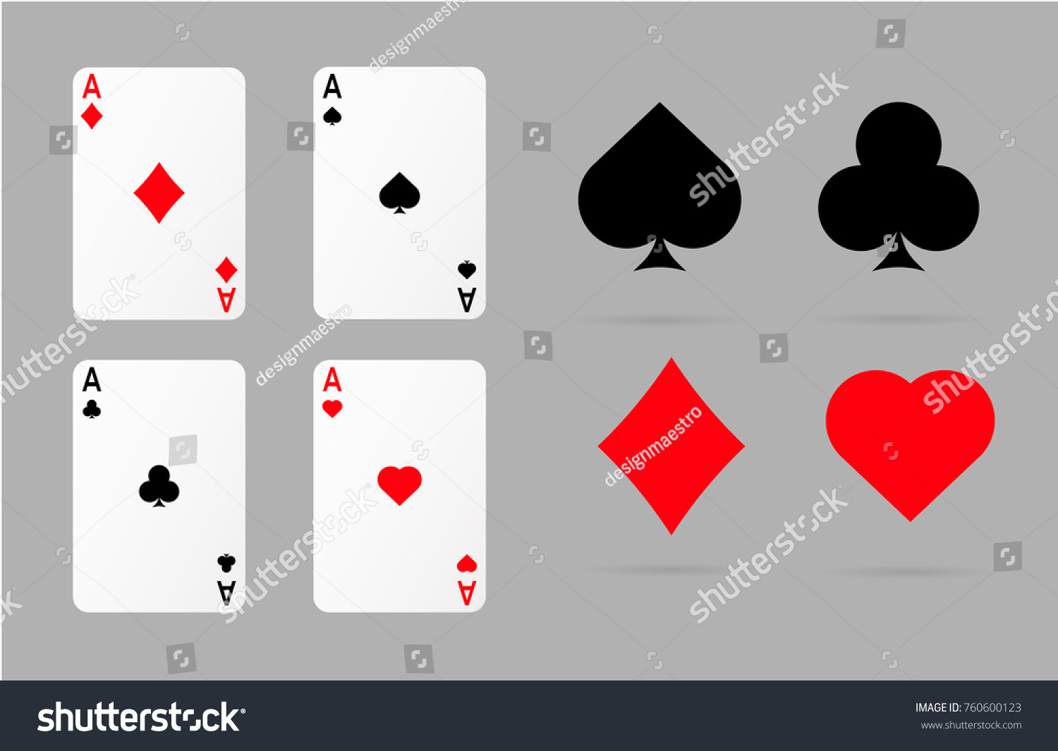 Playing Cards Poker Symbols Set Ace Stock Vector 760600123