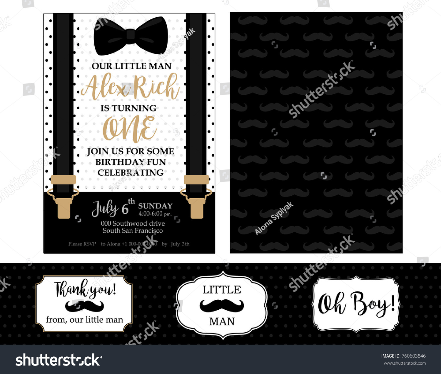 Little Man Birthday Party Baby Shower Stock Vector 760603846 ...