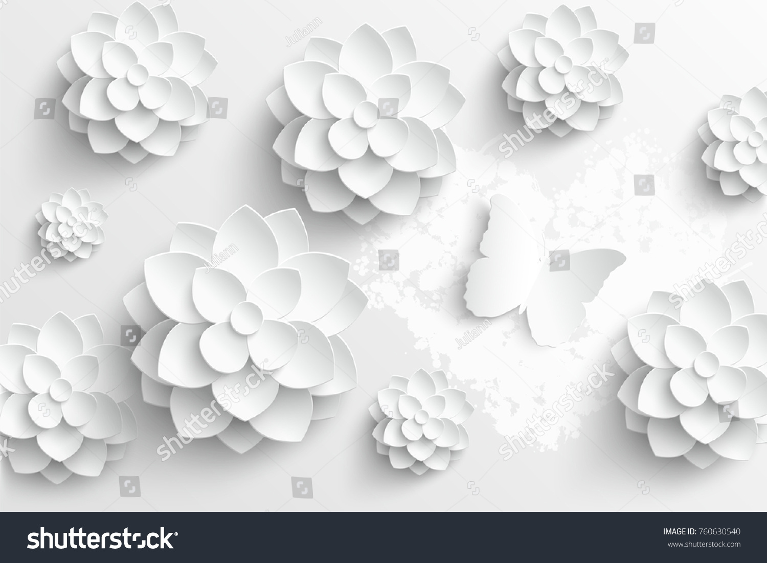 Paper Flower White Lotus Cut Paper Stock Vector Royalty Free