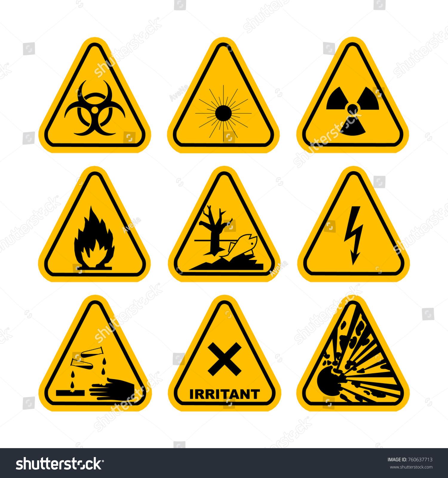 Warning Hazard Symbols Set Icons High Stock Illustration 760637713