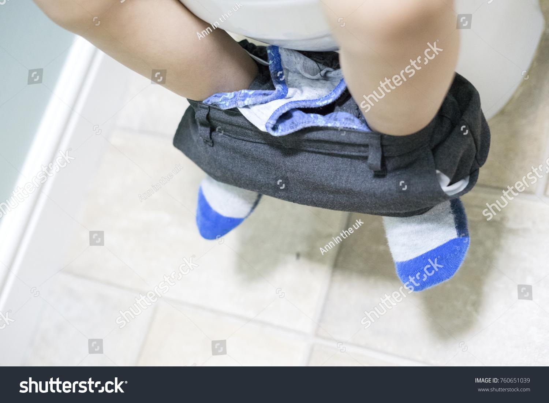 Kid Sitting On Toilet Low View Stock Photo (Edit Now) 760651039 ...