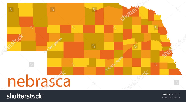 Detailed Map Nebraska State Usa Stock Illustration - Detailed map of nebraska