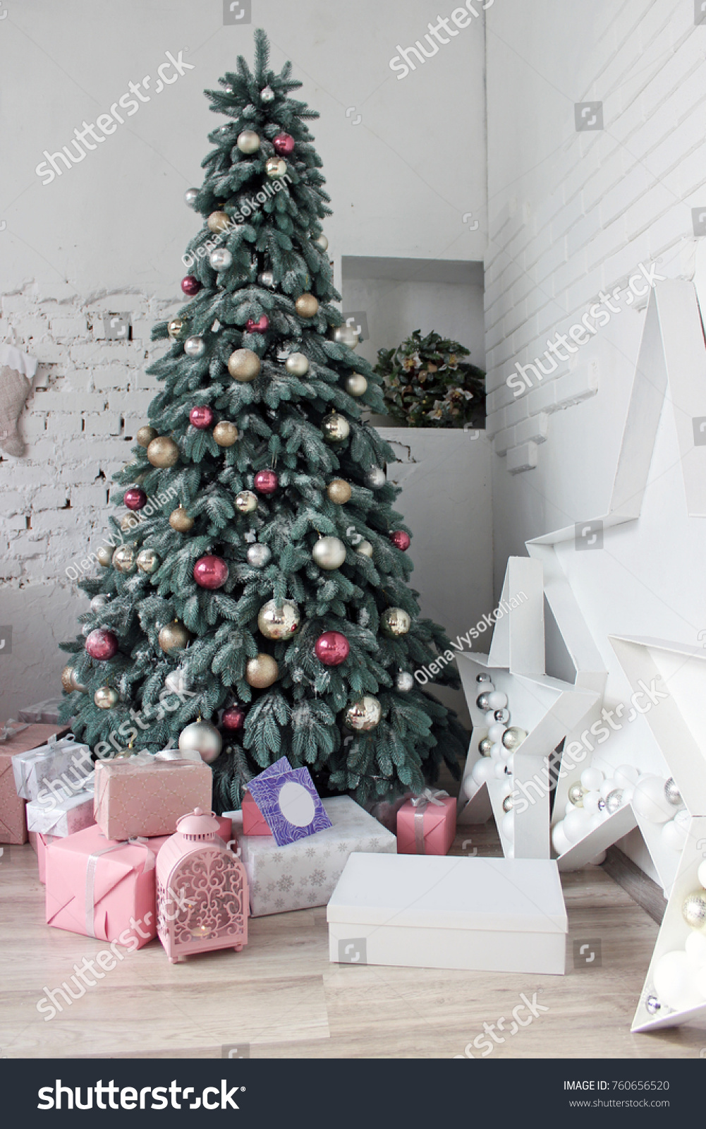 Christmas Tree White Room Decorated Pink Stock Photo Edit Now 760656520