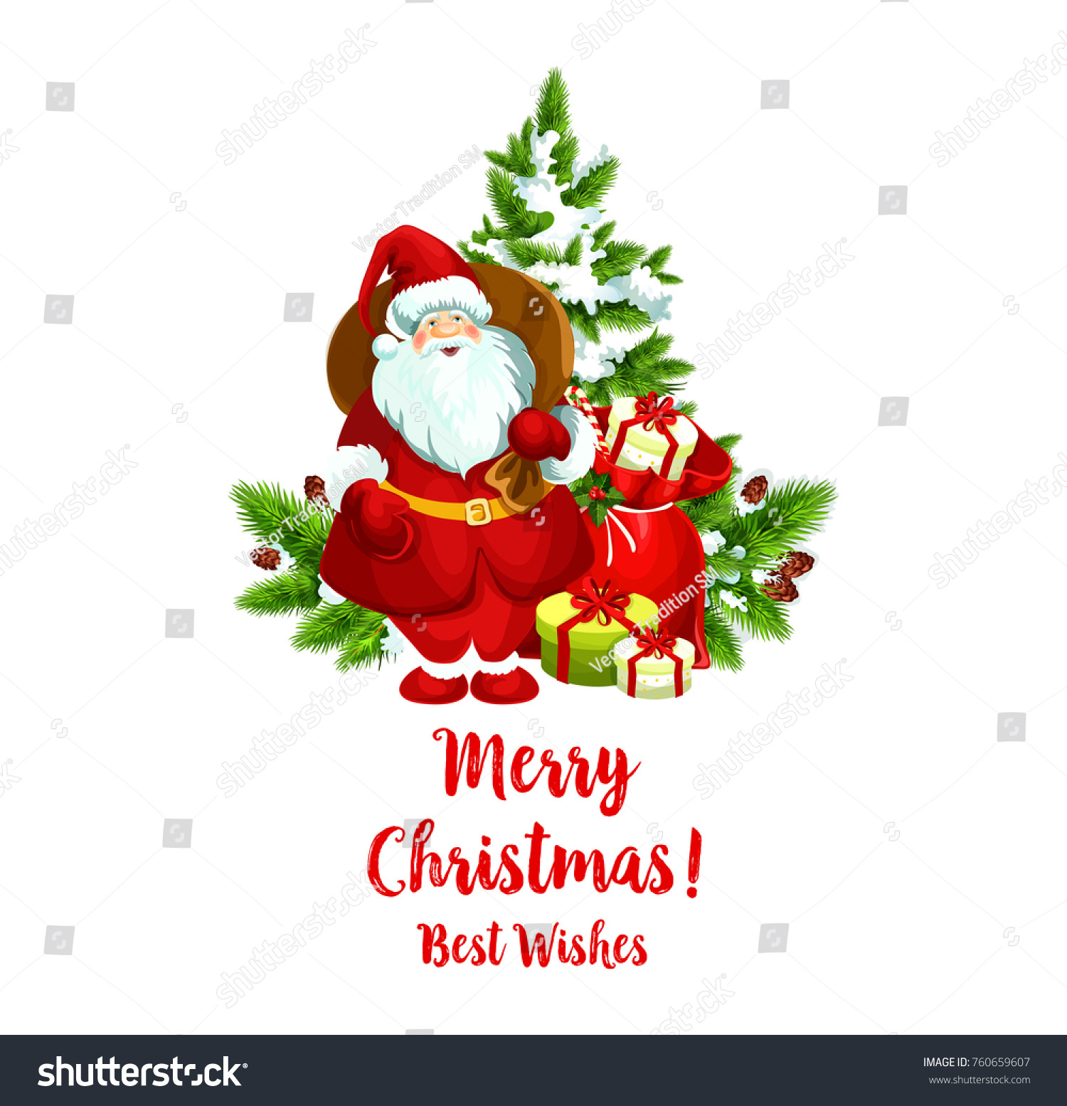 Merry Christmas Best Wishes Greeting Icon Stock Vector (Royalty Free ...