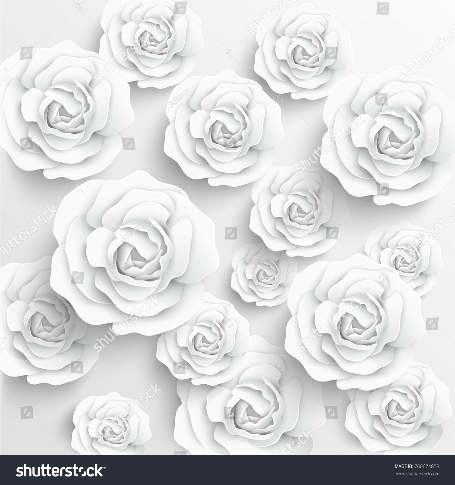 Paper Flower White Roses Cut Paper Stock Vector Royalty Free