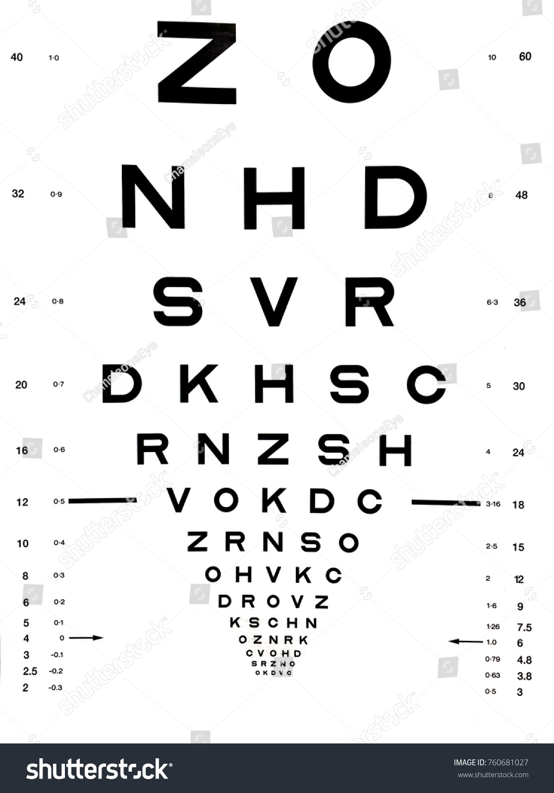 Eye Test Chart Comprises Rows Letters Stock Illustration