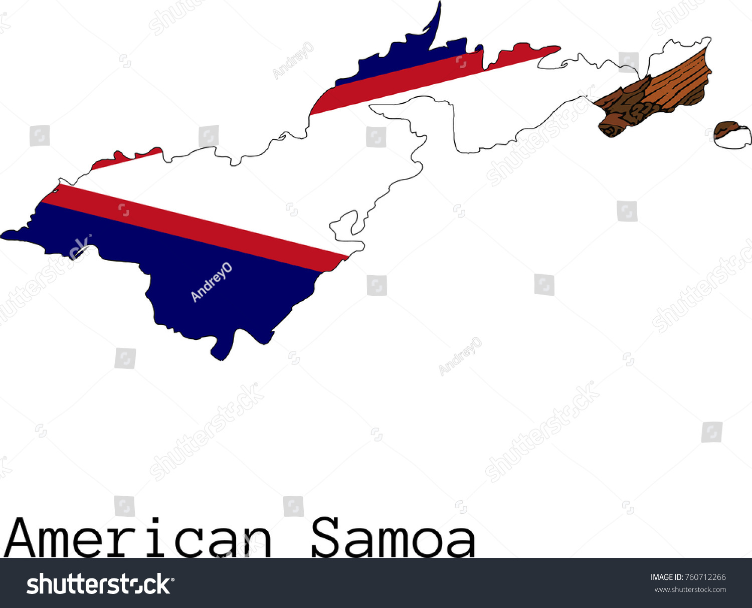 Vector American Samoa Map Silhouette Painted Stock Vector - Samoa map vector