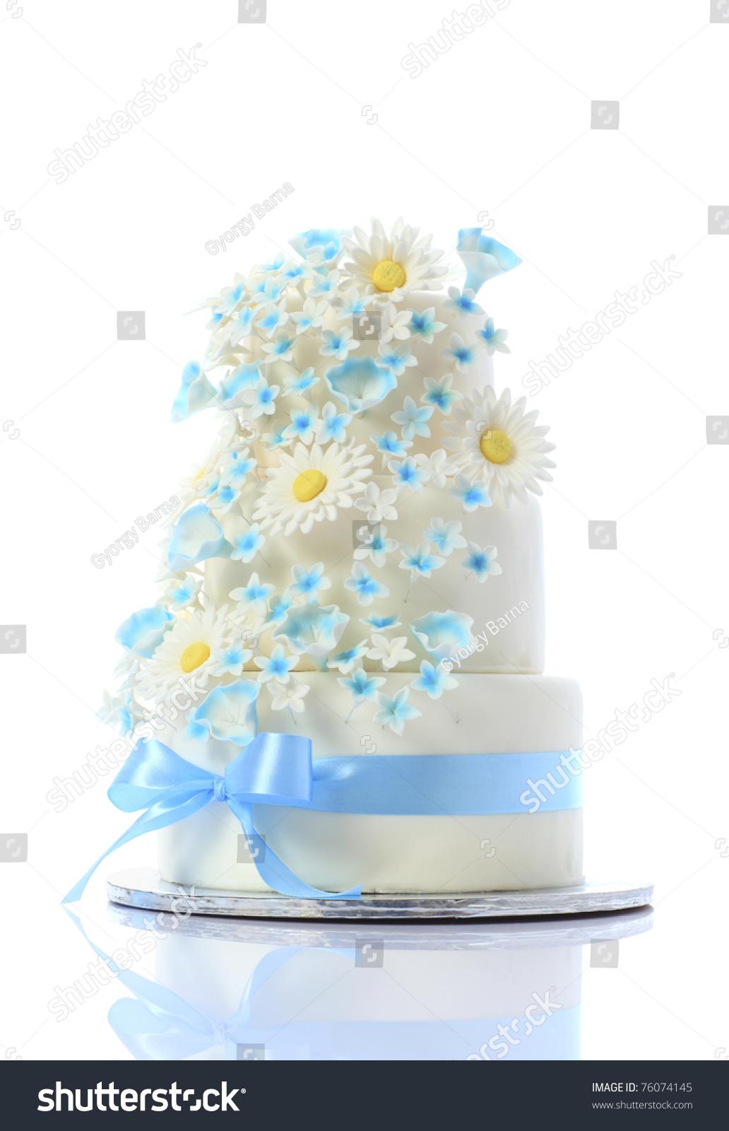 Luxurious Wedding Cake Daisy Flower Blue Stock Photo (Royalty Free ...