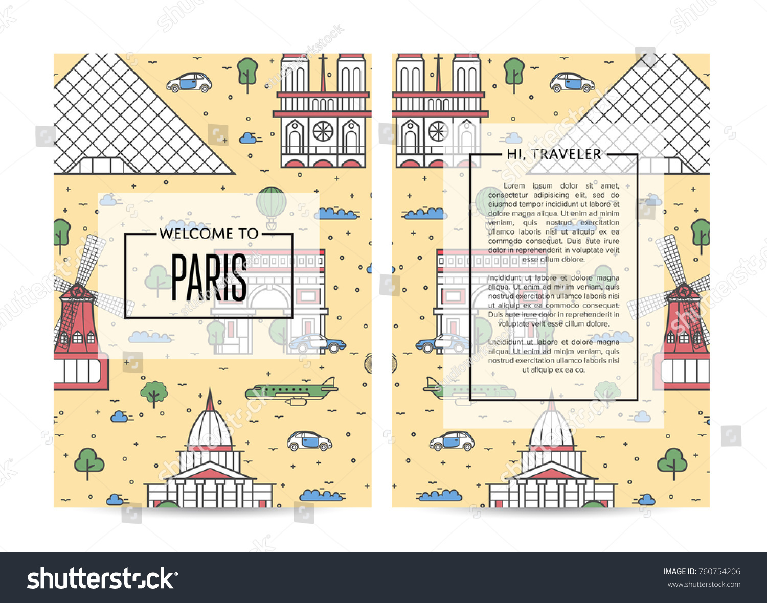 Paris traveling banners set famous monuments stock vector 760754206 paris traveling banners set with famous monuments and space for text touristic tour vector advertising biocorpaavc Images