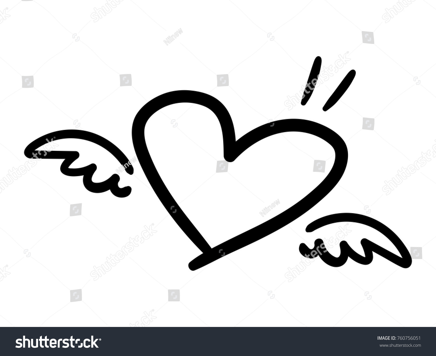 Vector illustration handwritten heart shape little stock vector vector illustration of handwritten heart shape with little wings isolated on a white background buycottarizona Images