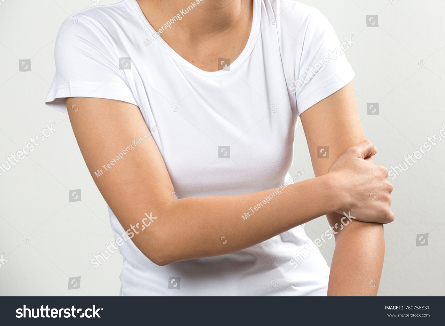 Arms Pain Beautiful Woman Suffering From Painful Feeling In Arm