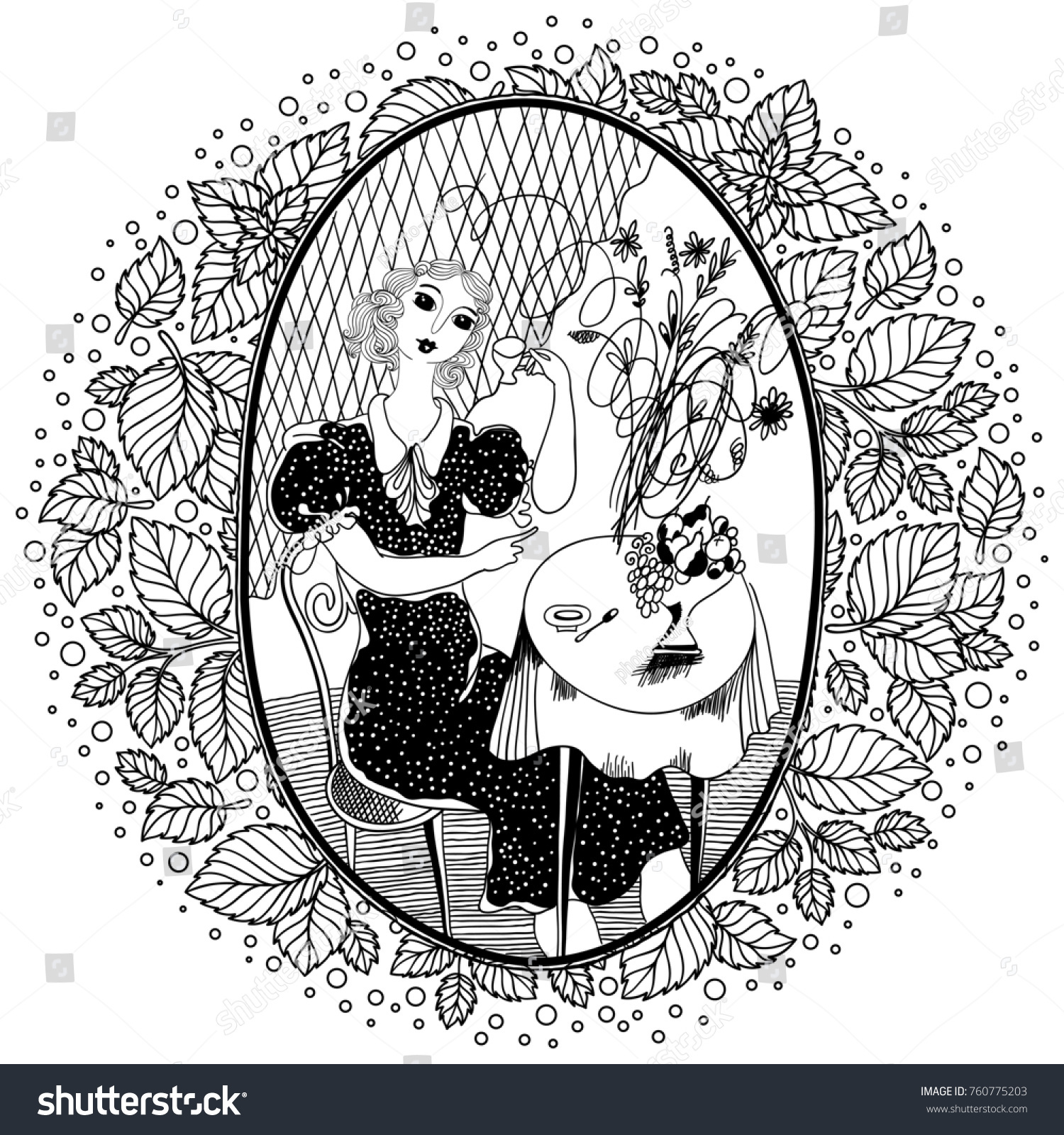 Pattern For Coloring Book Adult Vintage Girl Drinking Coffee In A Cafe The