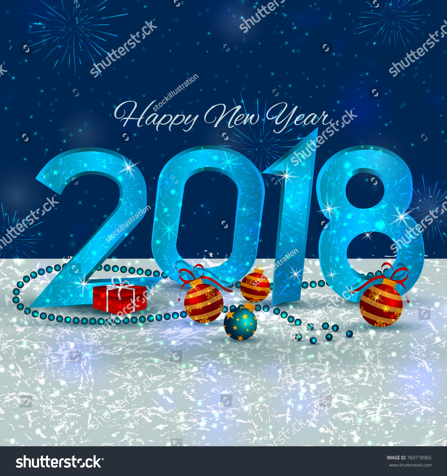 Happy New Year 2018 Wishes Greeting Stock Vector 2018 760778965