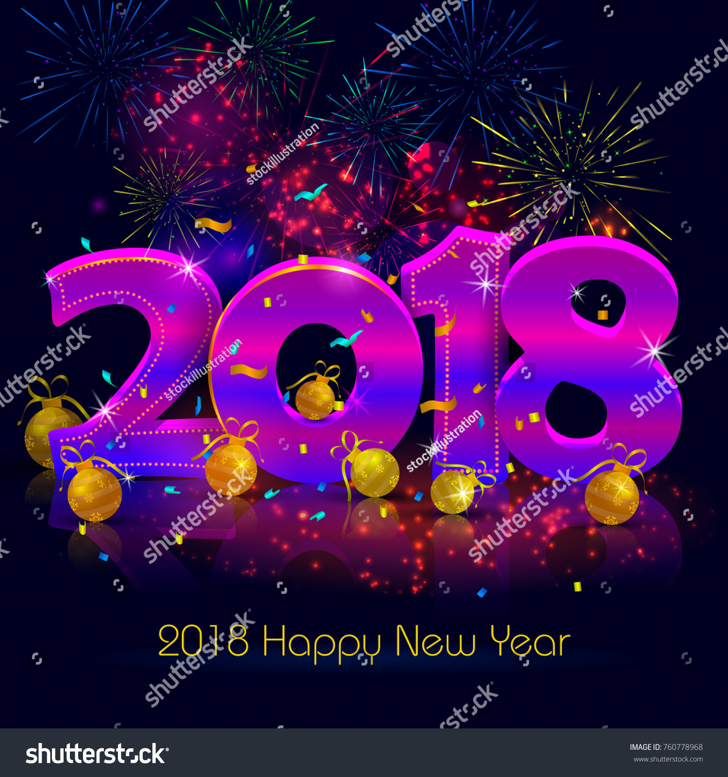 Happy New Year 2018 Wishes Greeting Stock Vector 760778968