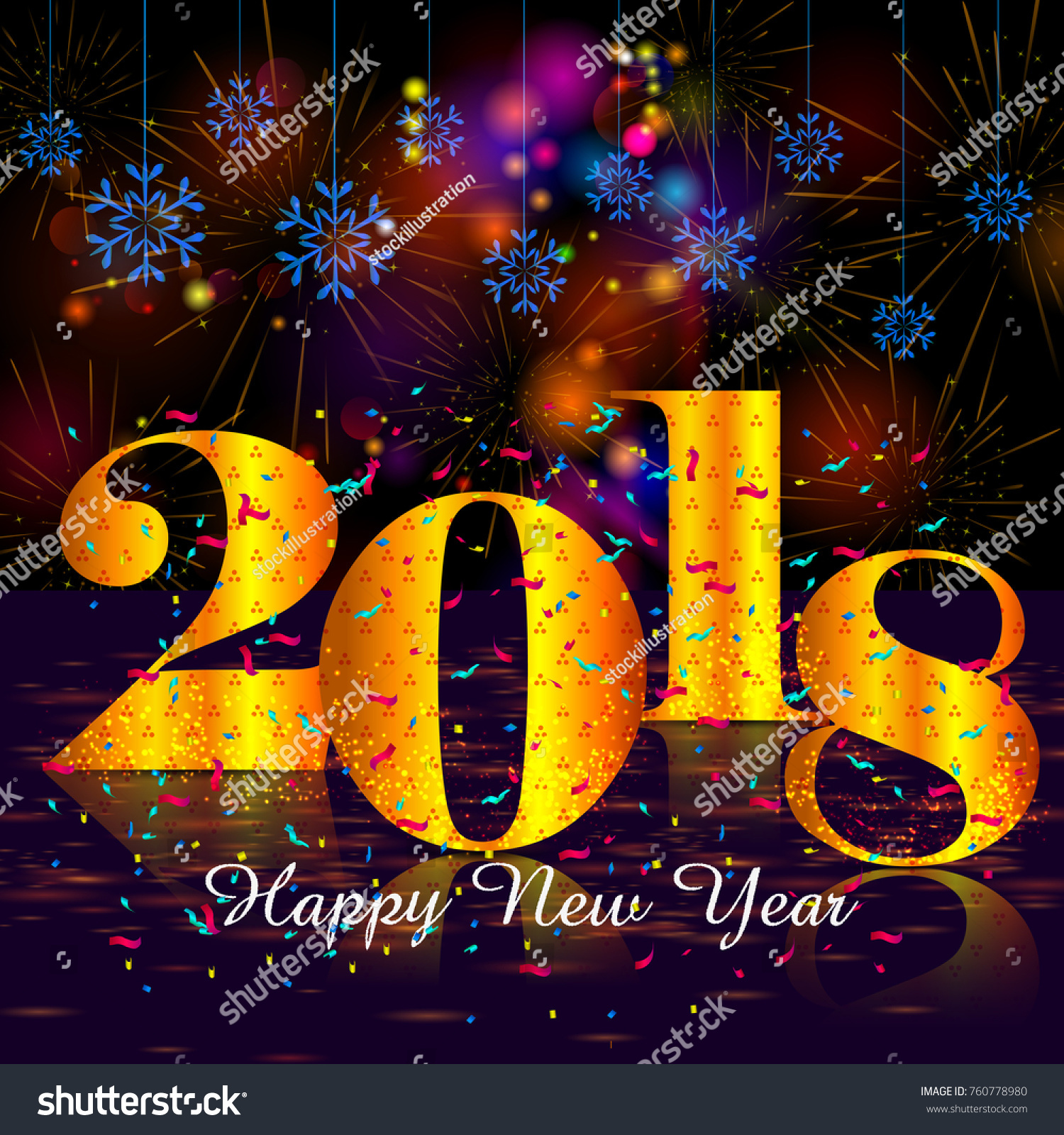 Happy New Year 2018 Wishes Greeting Stock Vector Royalty Free