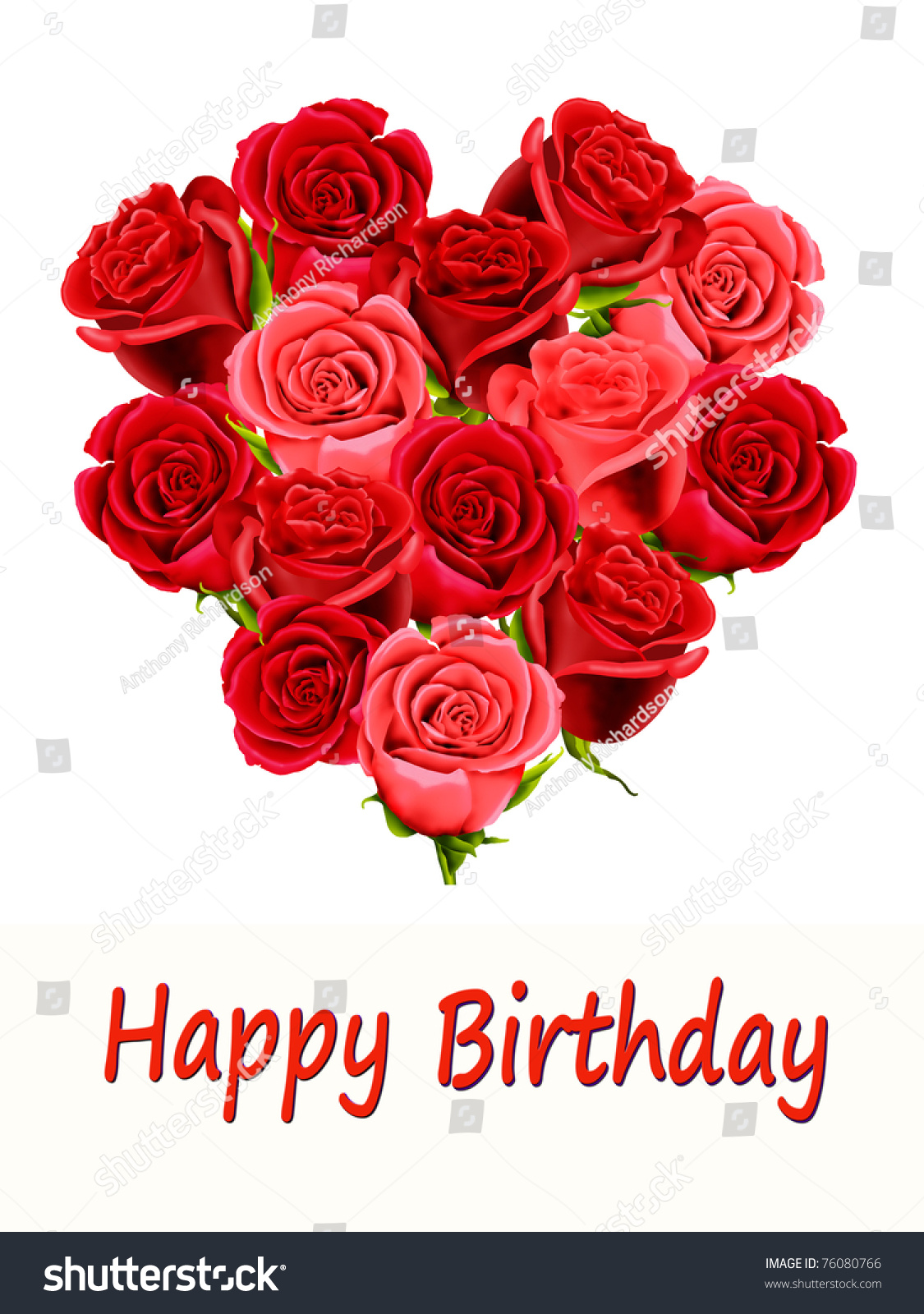 Birthday Card Heart Shaped Roses Happy Illustration 76080766 – Birthday Greetings with Roses