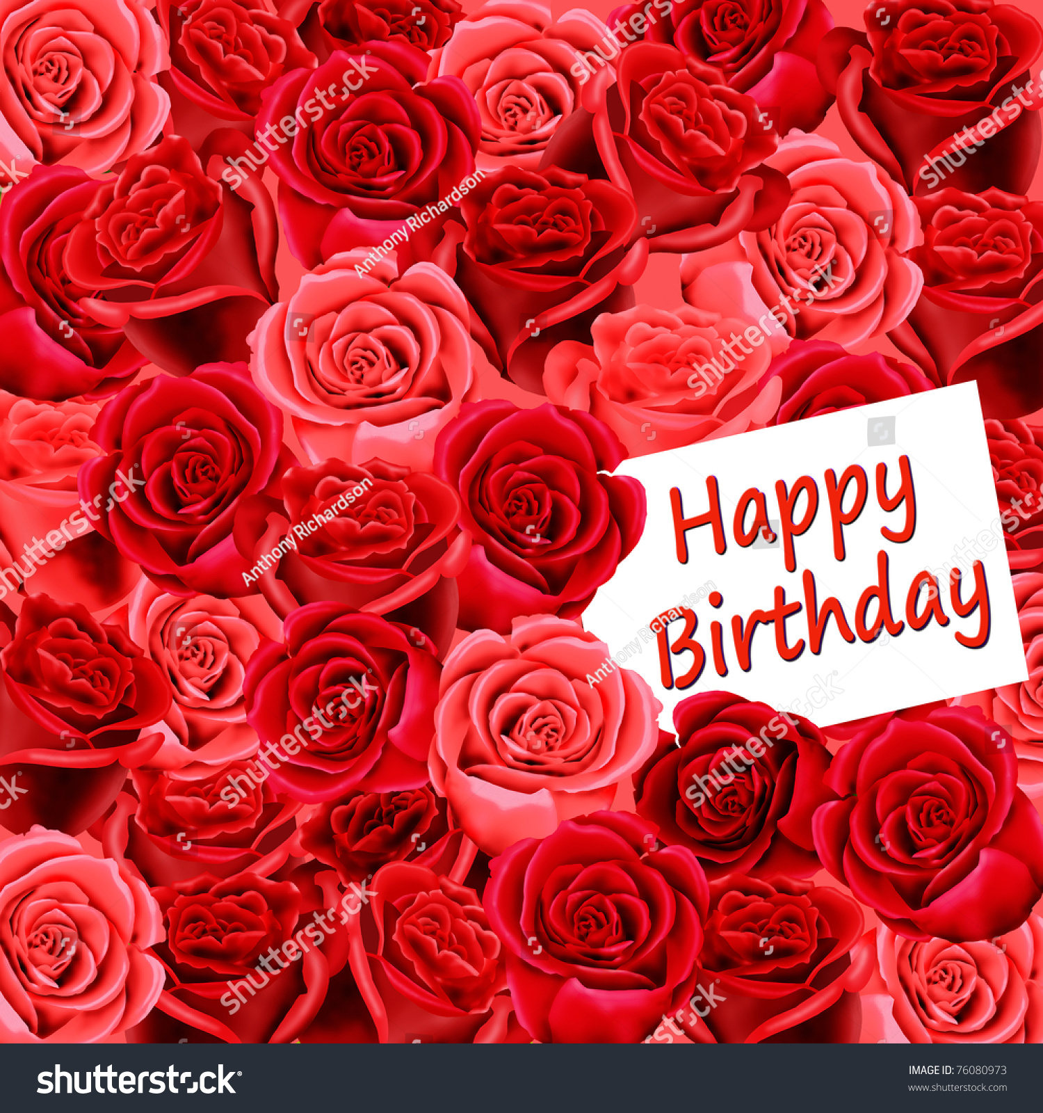 Birthday Card With Roses And Happy
