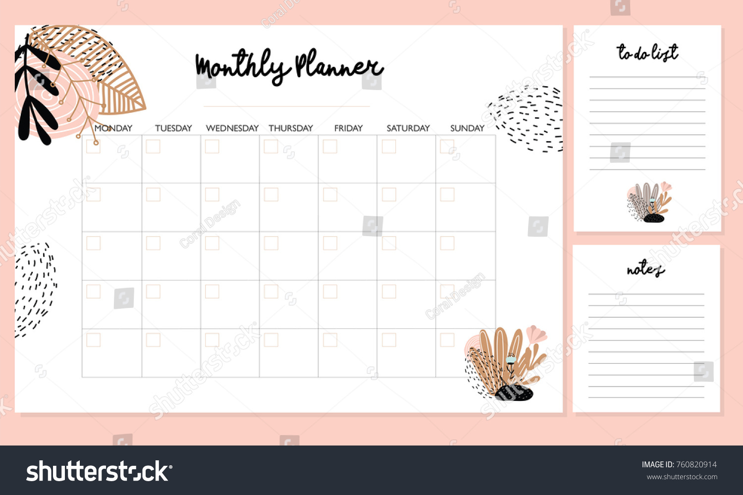 cute monthly planner flowers do list stock vector (royalty free
