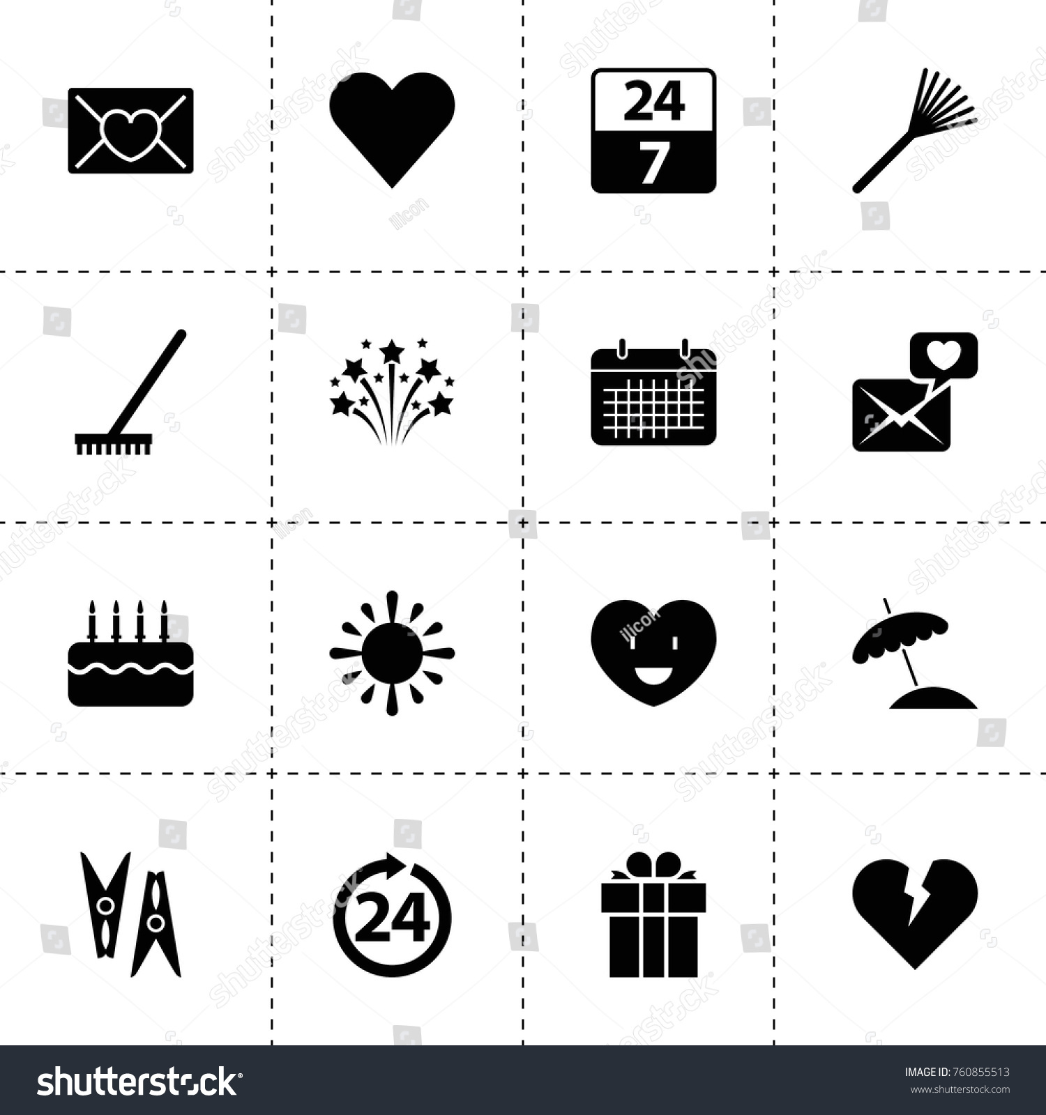 Simple 16 set day filled icons stock vector 760855513 shutterstock simple 16 set of day filled icons such as rake clothes peg broken heart spiritdancerdesigns Images