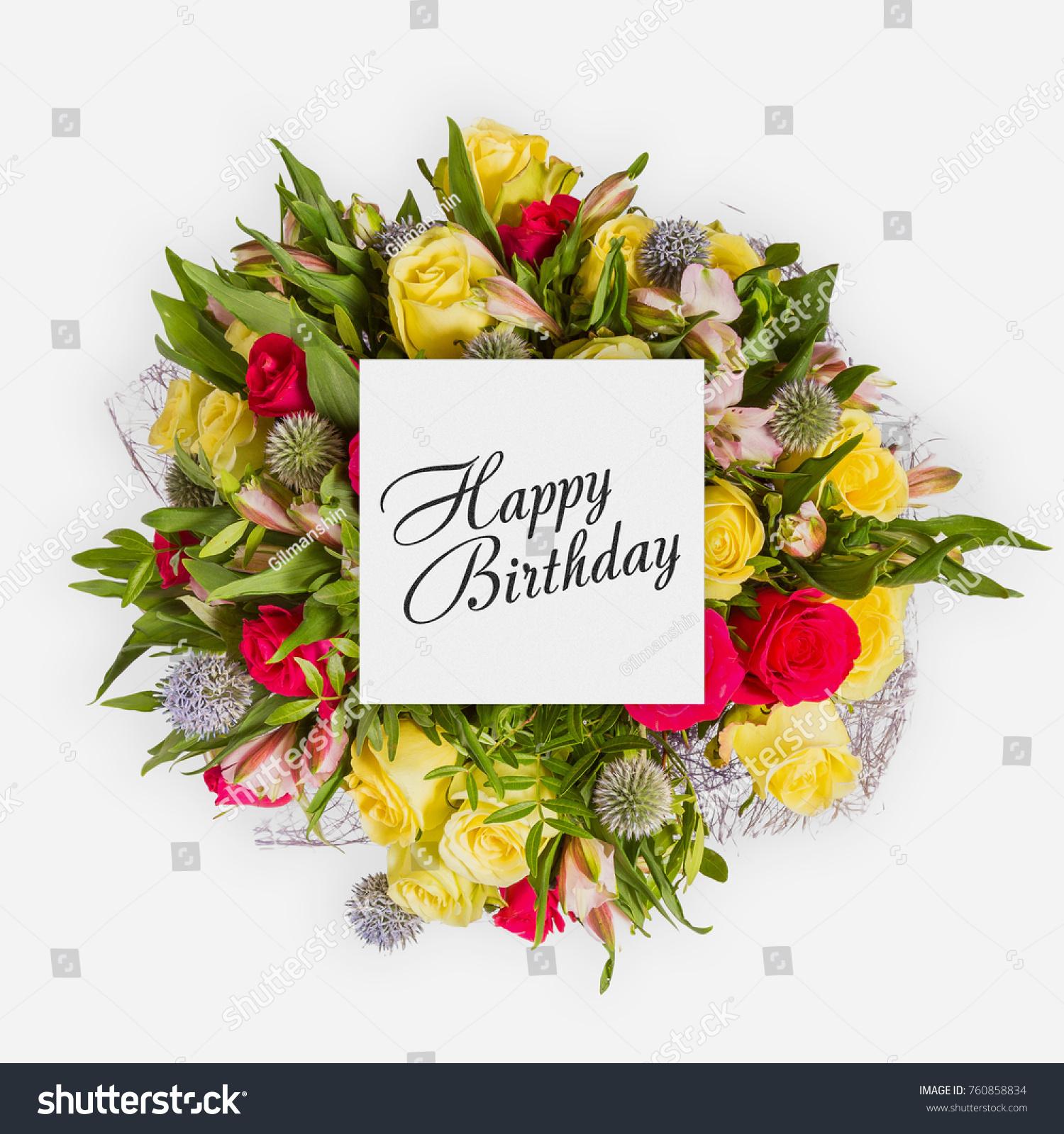 Happy birthday card flowers flat lay stock photo 760858834 happy birthday card with flowers flat lay kristyandbryce Gallery