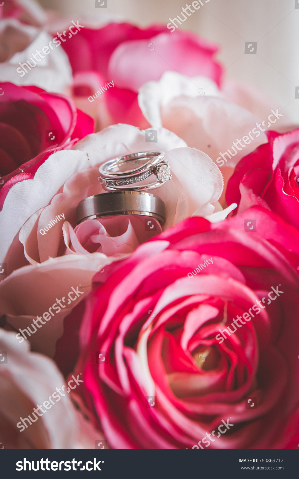 Wedding Rings Closeup On Bouquet Cerise Stock Photo (Royalty Free ...