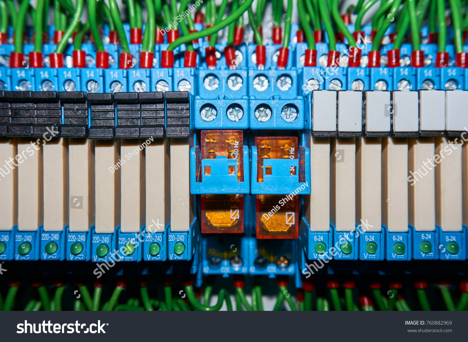 Some Electrical Relay Mounted On Mounting Stock Photo Edit Now Socket Terminal Is The Panel Relays Inserted In Base Or