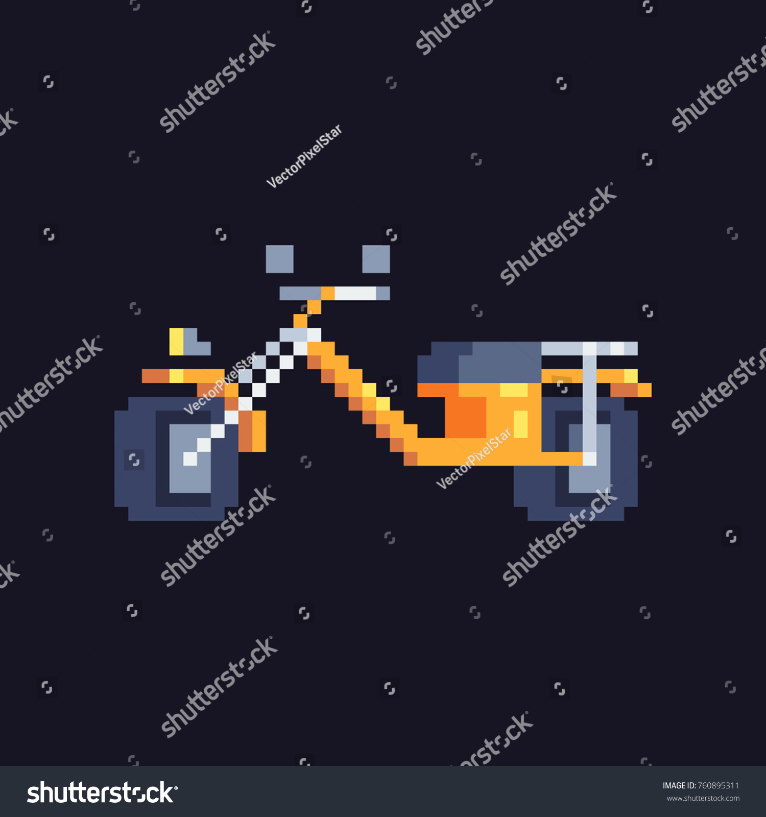 Motorcycle Pixel Art Icon Video Game Stock Vector Royalty Free