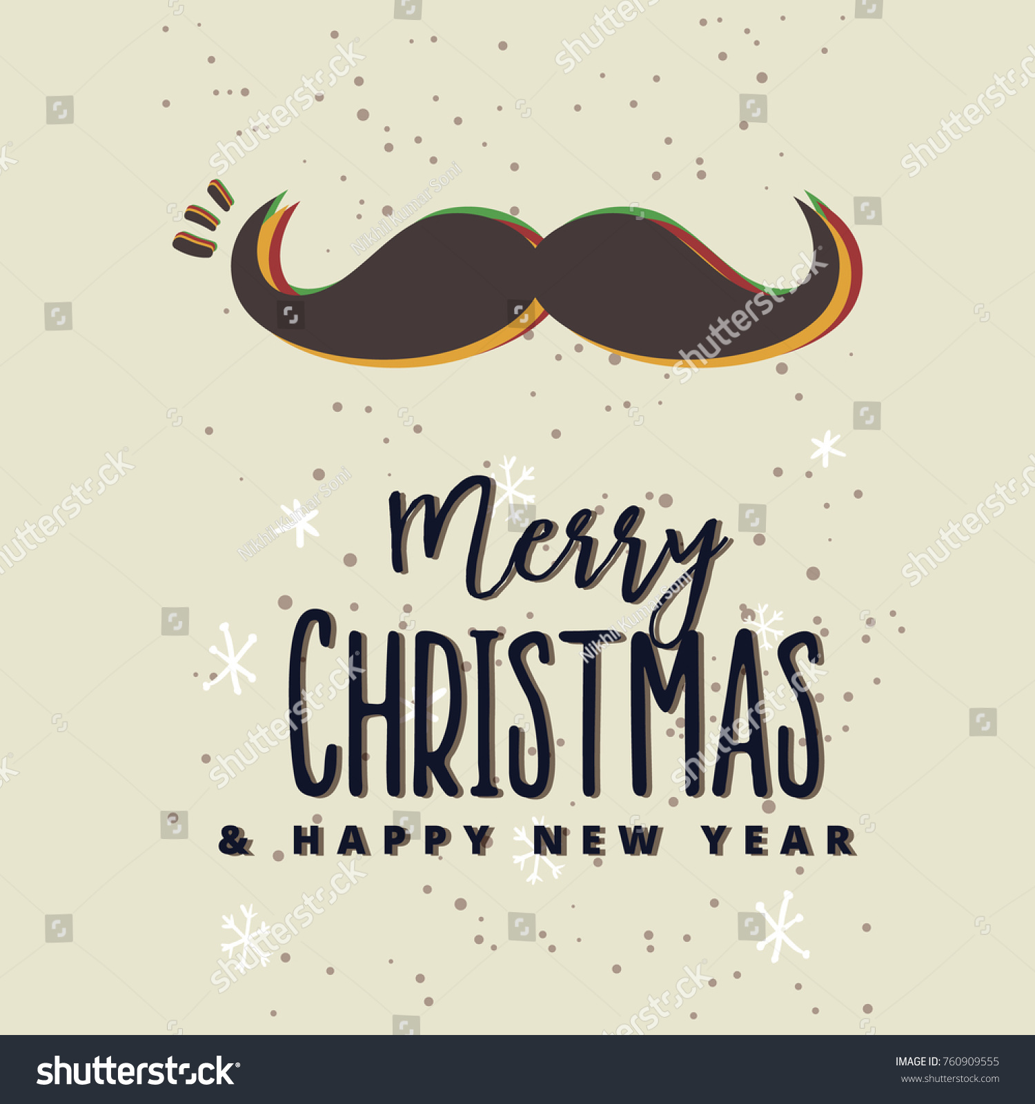 merry christmas and happy new year greeting card with calligraphy handwritten modern brush lettering with