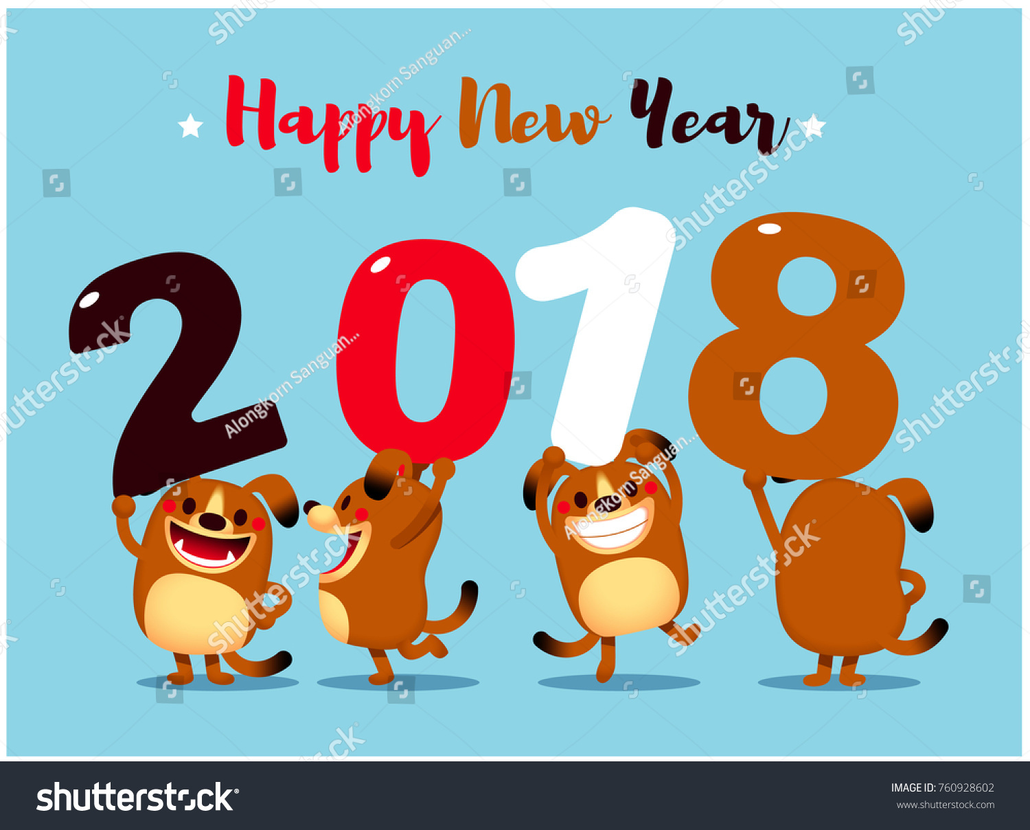 Vector illustration cute dog characters greeting stock vector vector illustration of cute dog characters for greeting card happy new year card kristyandbryce Gallery