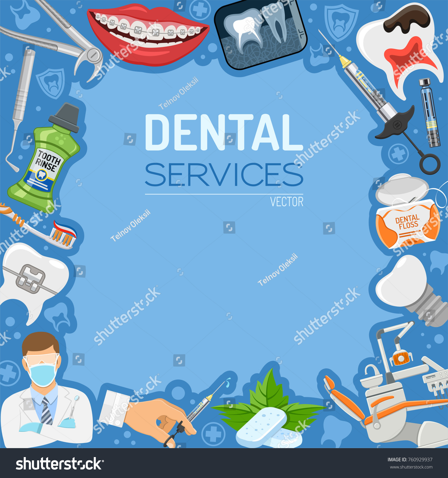 Dental Services Dentistry Hygiene Banner And Frame With Flat Icons Dentist Chair Braces X