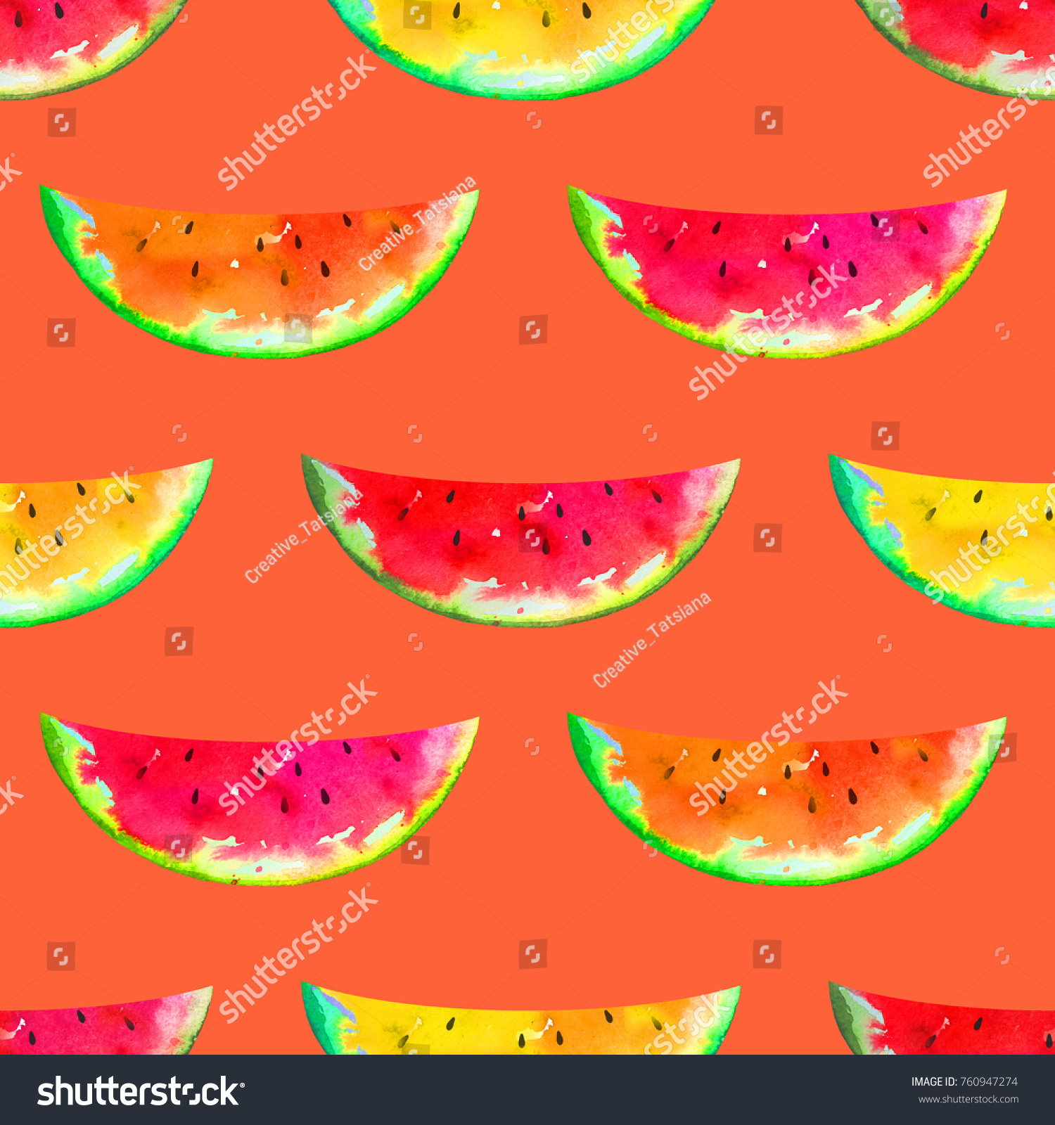 Watermelon Colorful Slices Seamless Watercolor Summer Stock ...