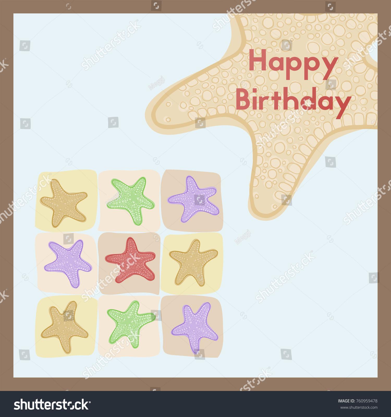 Marine Greeting Card Happy Birthday Birth Stock Illustration