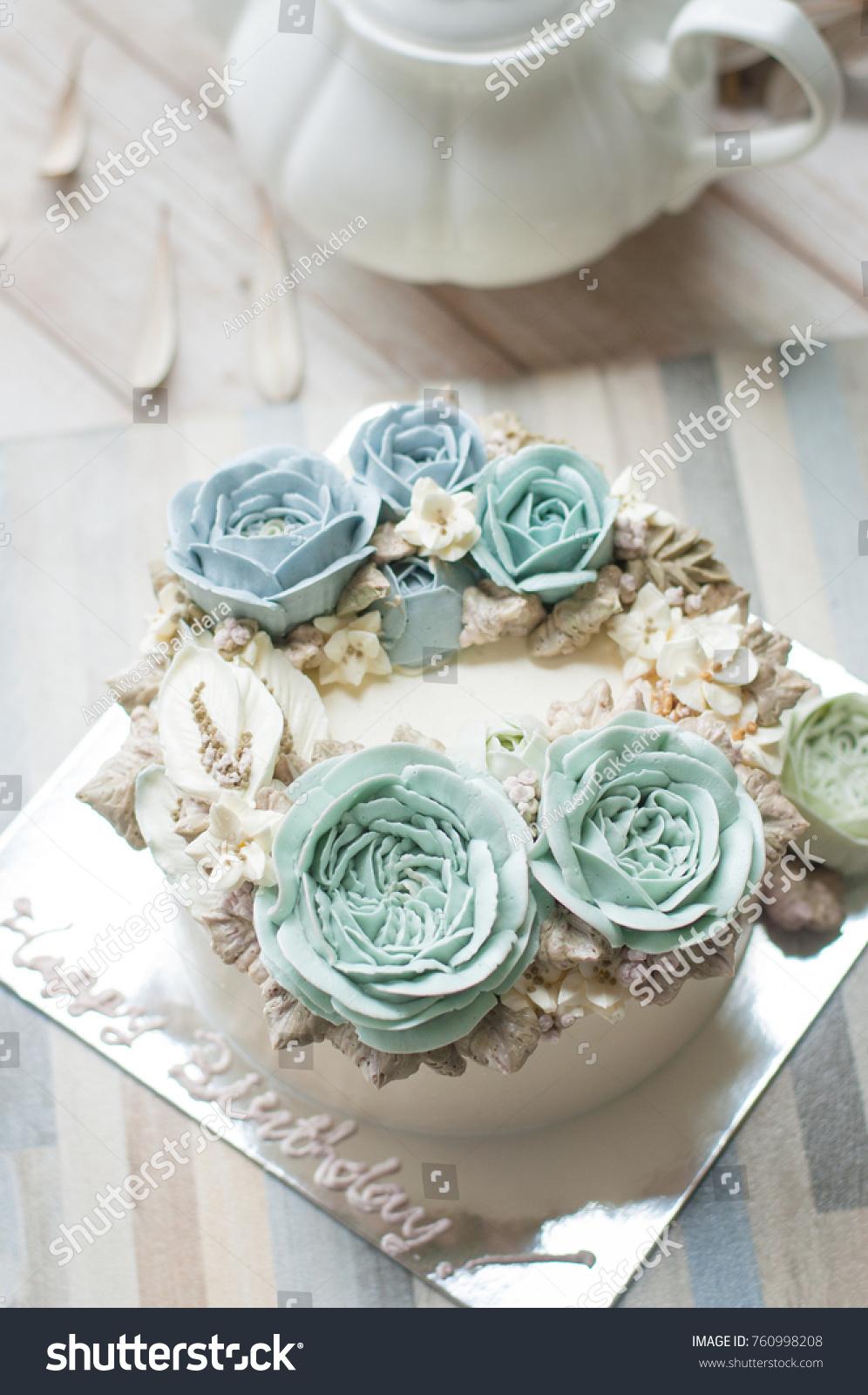 Buttercream Flower Cake Word Happy Birthday Stock Photo (Edit Now ...