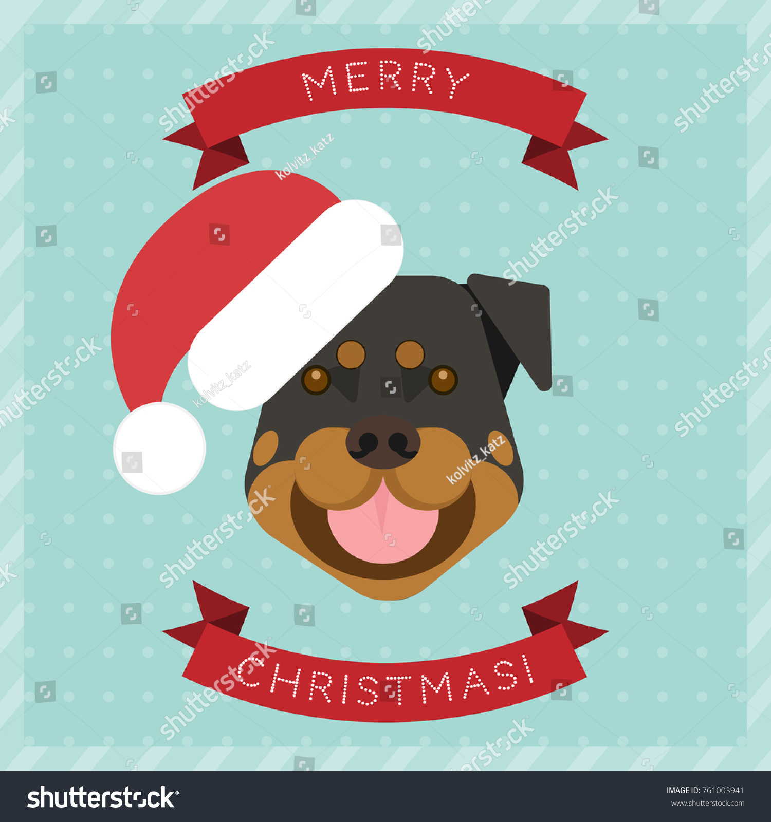 Merry christmas greeting card dog new stock vector 761003941 merry christmas greeting card with a dog new year greeting card christmas elements m4hsunfo