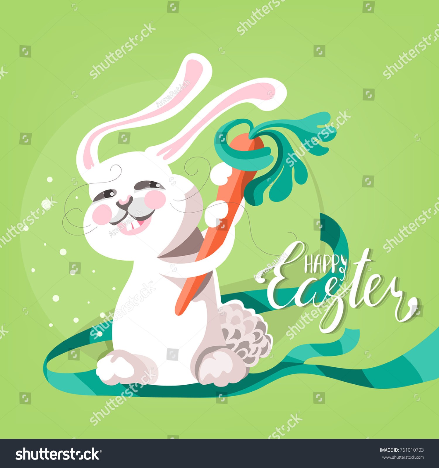 Cute funny happy easter greeting card stock vector 761010703 cute and funny happy easter greeting card adorable cheerful cartoon white bunny rabbot kristyandbryce Choice Image