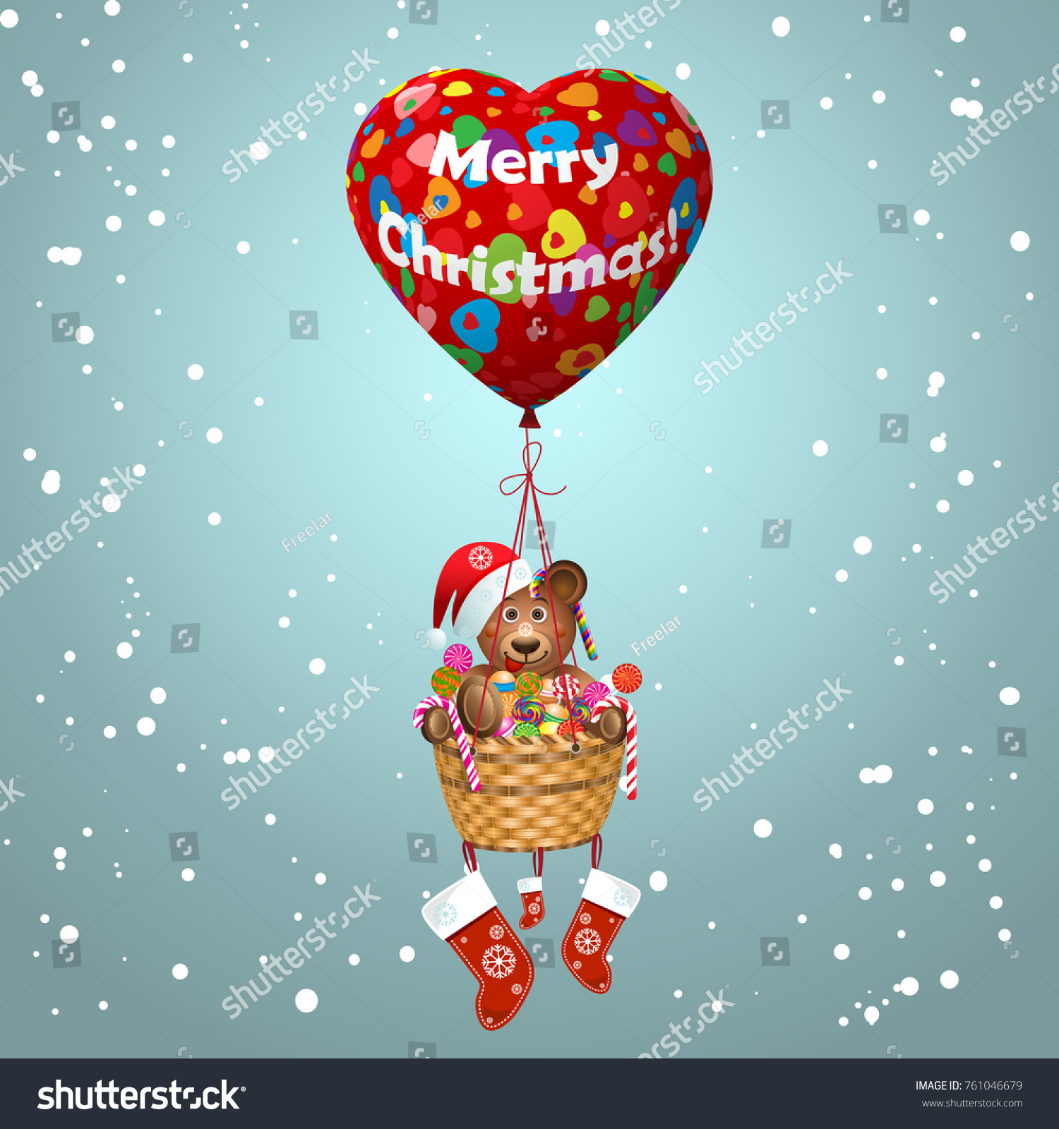 Merry Christmas Card 3 D Heart Shaped Stock Vector (Royalty Free ...