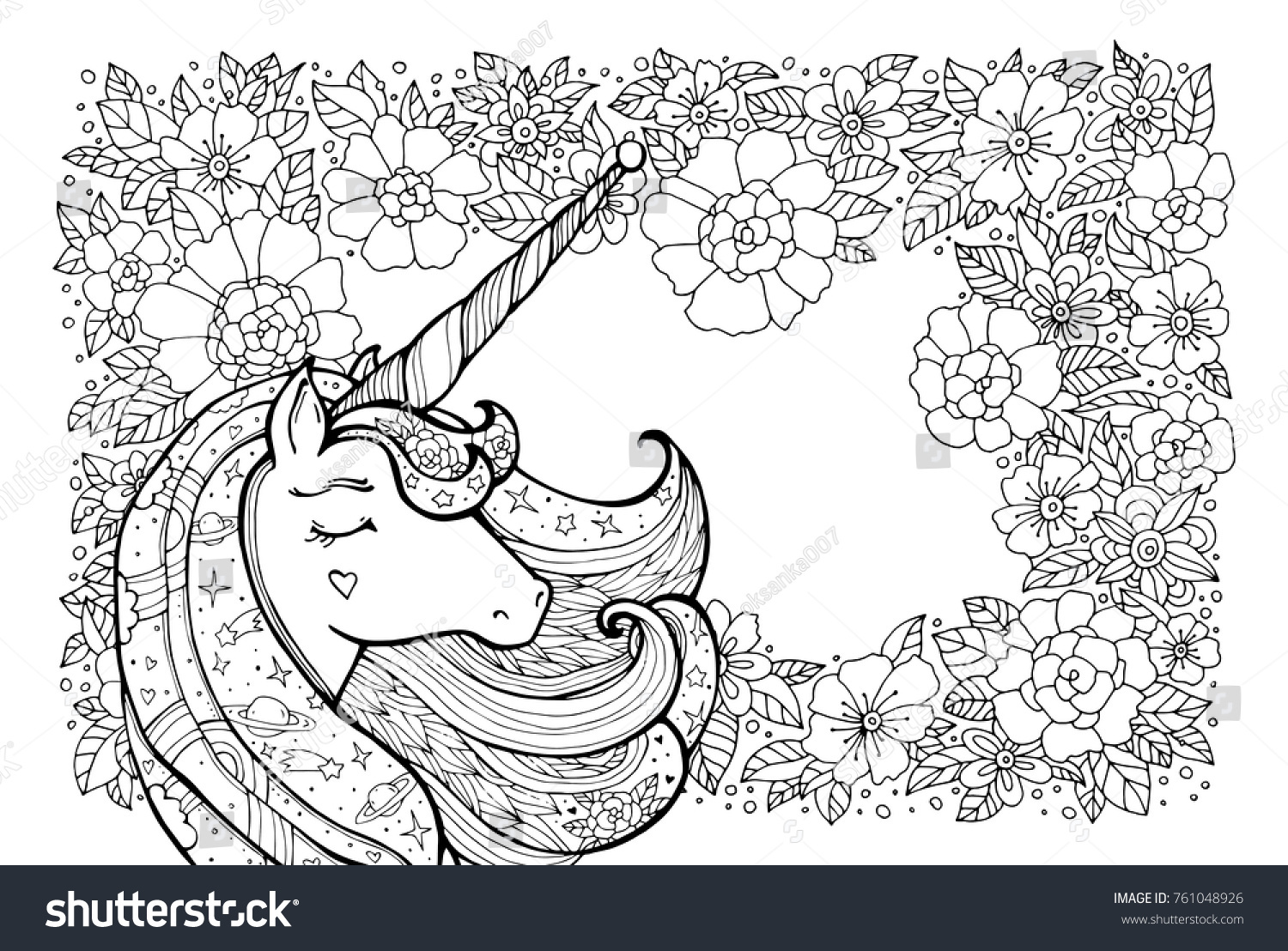 Unicorn and flower pattern. Magical animal. Vector artwork ...