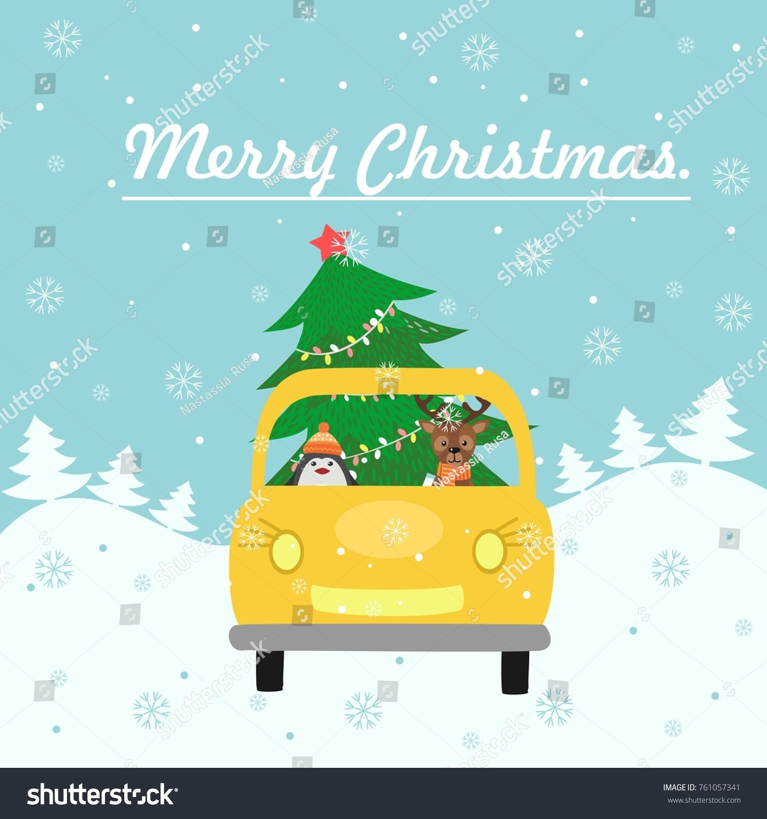 Merry Christmas Card Yellow Car Gives Stock Vector 761057341 ...