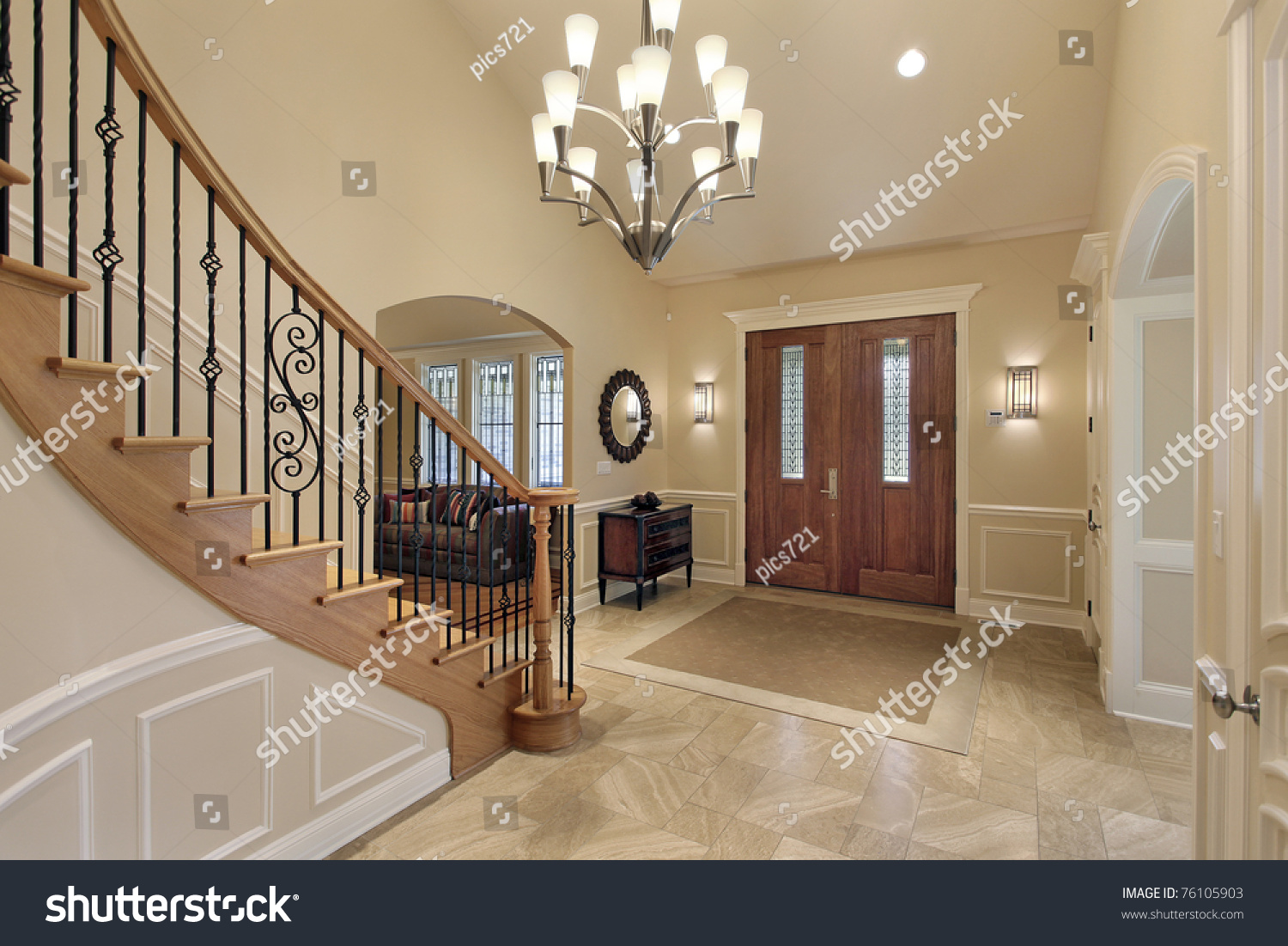 Foyer Luxury Home Curved Staircase Stock Photo 76105903 - Shutterstock