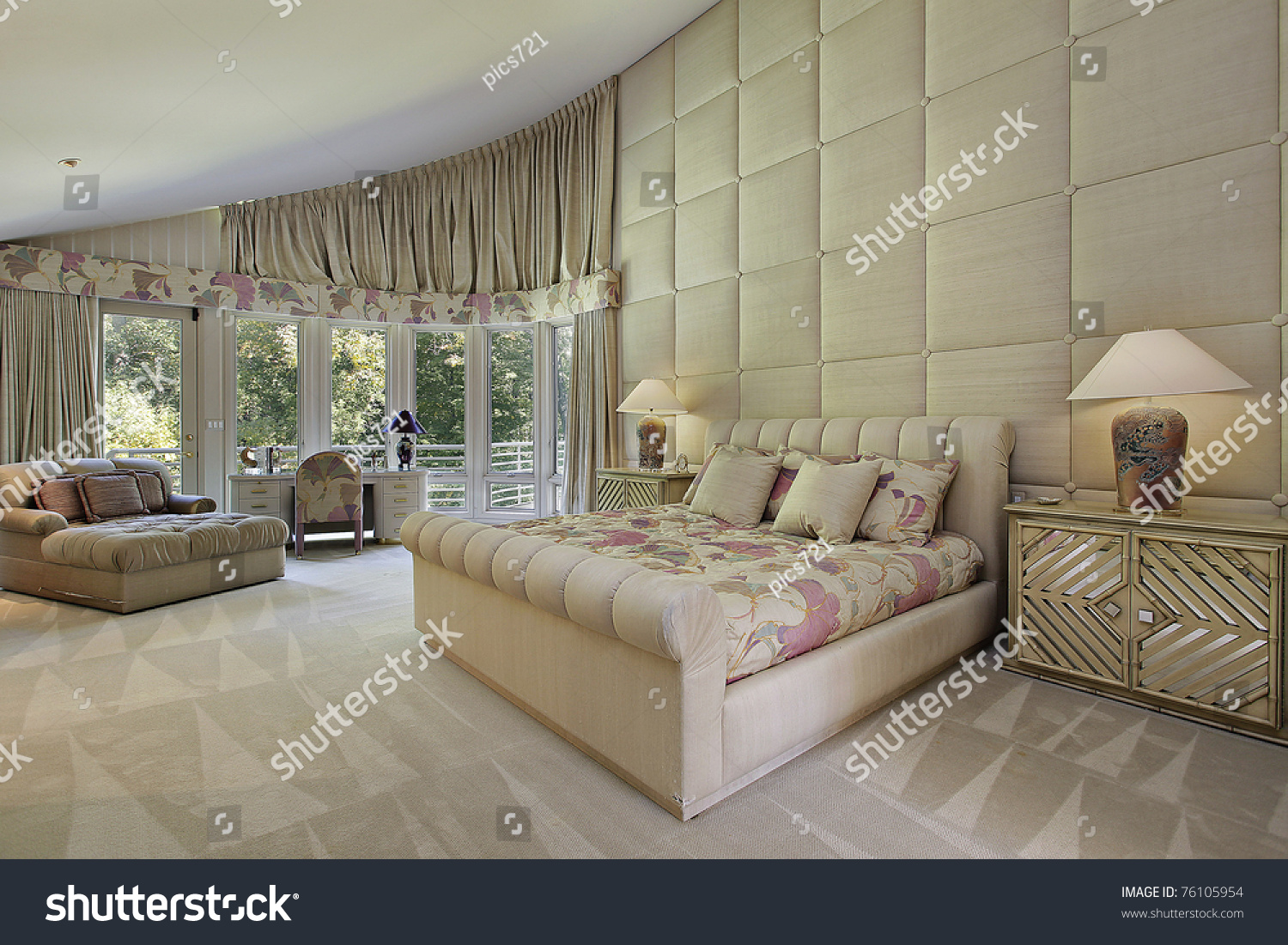 Large Master Bedroom Luxury Home Doors Stock Photo