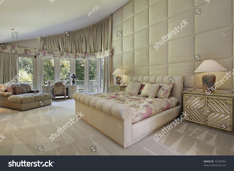 Large Master Bedroom Luxury Home Doors Stock Photo